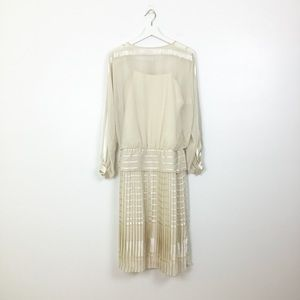 Randy Collections Champagne Vintage Pleated Dress